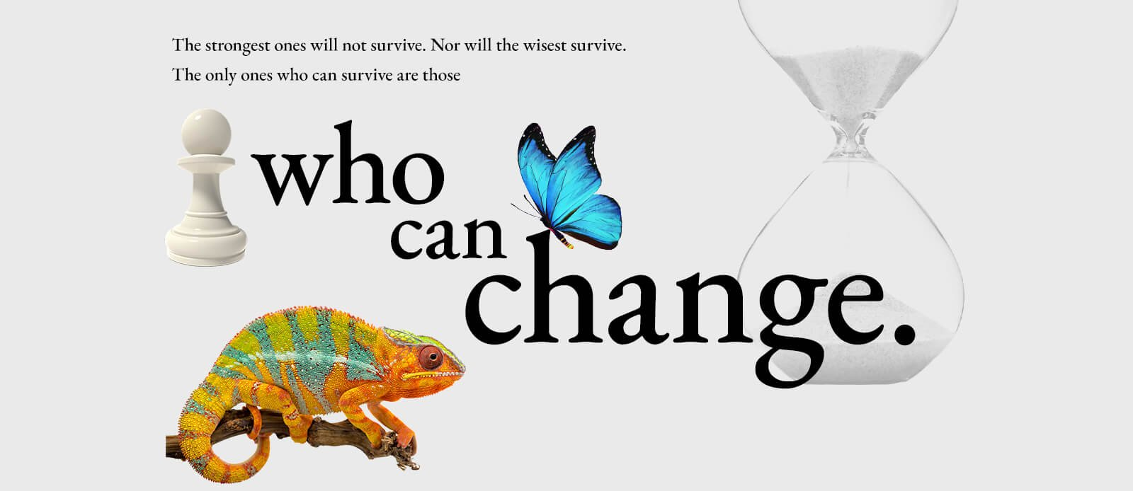 The strongest ones will not survive. Nor will the wisest survive.The only ones who can survive are those who can change.